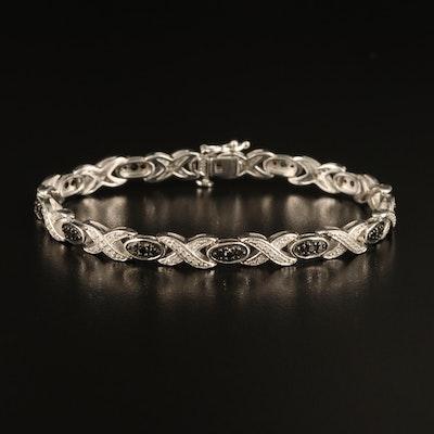 Sterling 1.00 CTW Diamond Link Bracelet