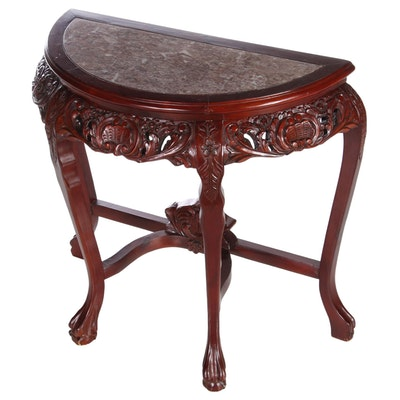 Chinese Carved Console Table with Inset Marble, Mid-20th Century
