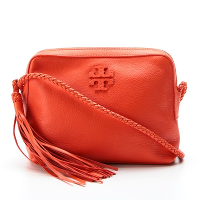 Tory Burch Crossbody Bag in Orange Leather with Braided Strap and Tassel