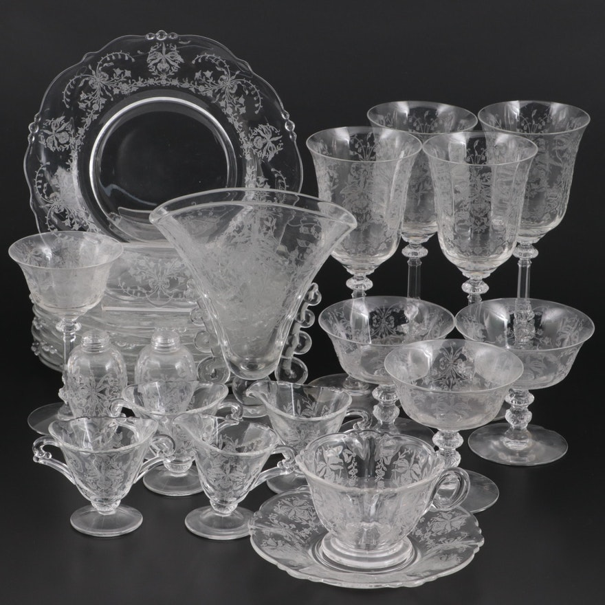 """Heisey """"Orchid"""" Etched Glass Stemware and Tableware, Mid-20th Century"""