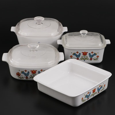"""CorningWare """"Country Festival"""" and """"Black Trefoil"""" Casseroles and Baking Pan"""