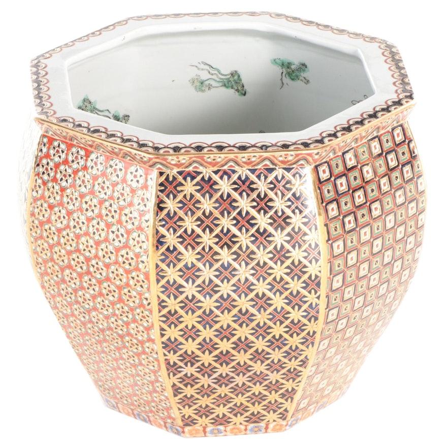 Imari Style Gilt Accented Octagonal Ceramic Fishbowl Planter for Gump's