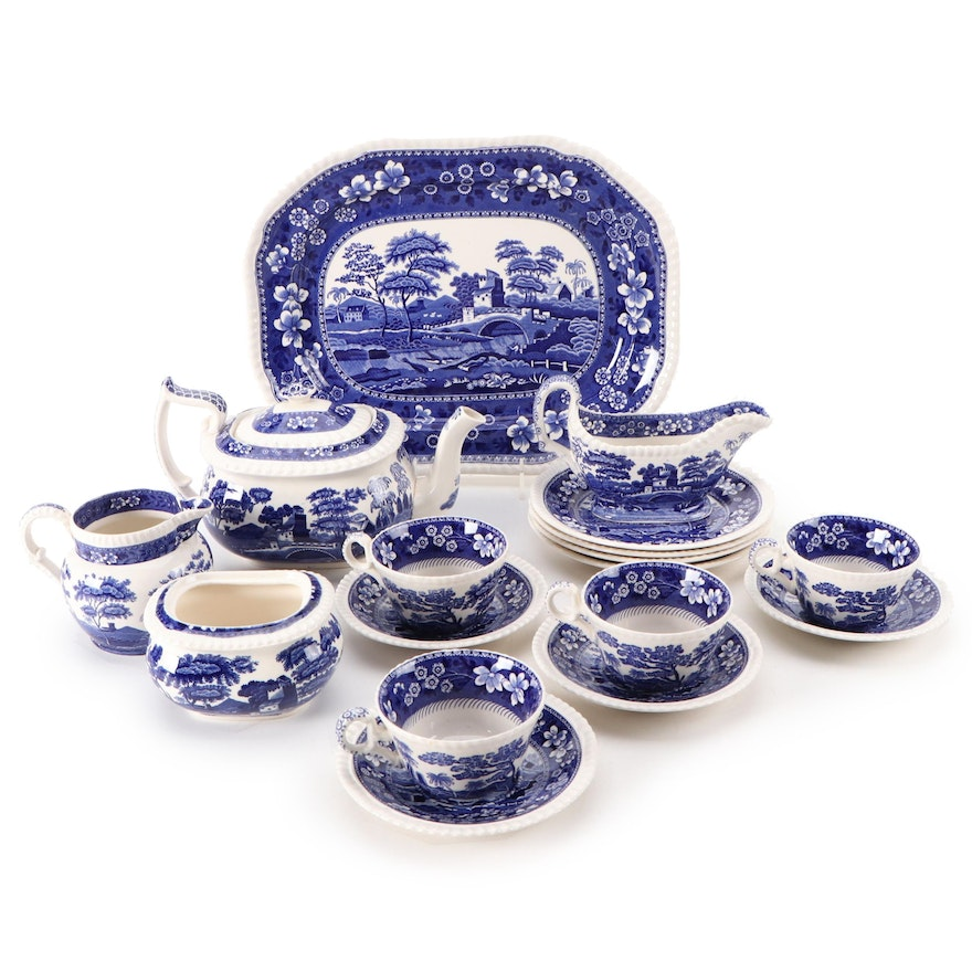 """Spode """"Blue Tower"""" Ceramic Platter and Tea Set, Mid to Late 20th Century"""