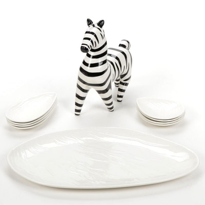Ceramic Serving Platter, Dishes and Zebra Figurine