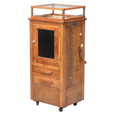 Thompson Plaster Oak Electrotherapy Device Cabinet, Early 20th Century