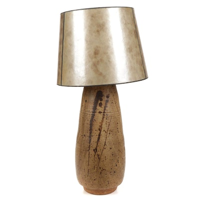 Hand-Thrown Pottery Table Lamp with Fiberglass Shade, Mid-20th Century