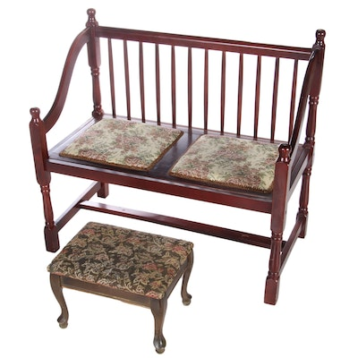 Cherry-Stained Padded Bench with Vintage Division Products Heated Footstool