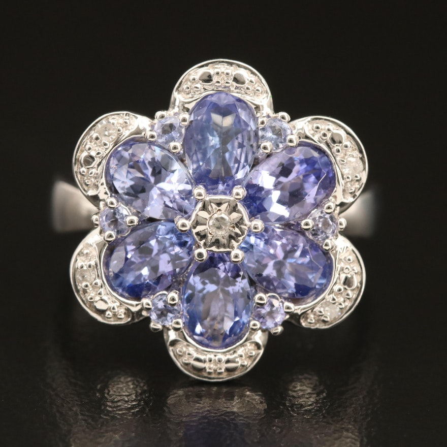 Sterling Tanzanite and Diamond Floral Ring