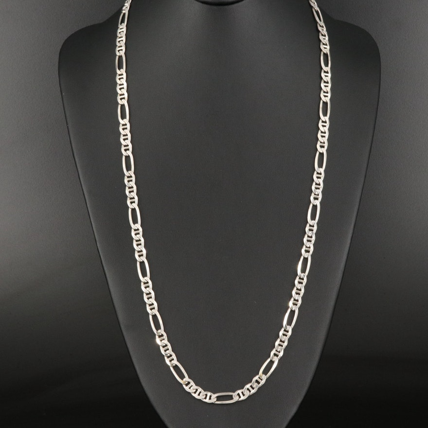 Italian Sterling Silver Figaro Chain Necklace