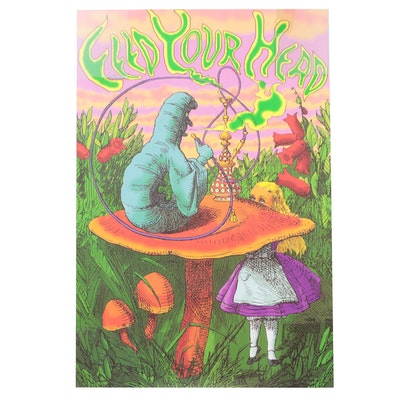 Psychedelic Offset Lithograph Poster of Alice in Wonderland