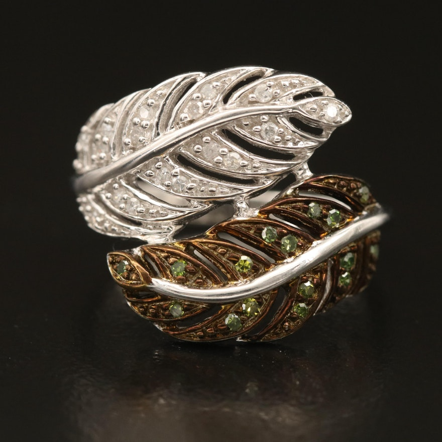 Sterling Diamond Feather Bypass Ring