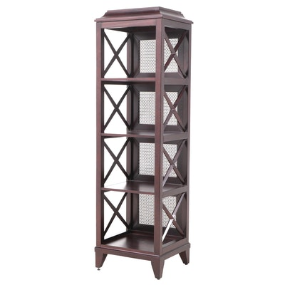 Neoclassical Style Open Bookshelf with Grille Panels