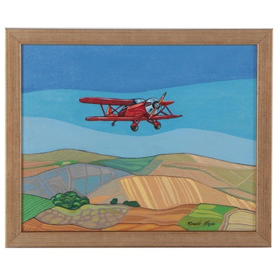Ricardo Maya Landscape With Airplane Acrylic Painting
