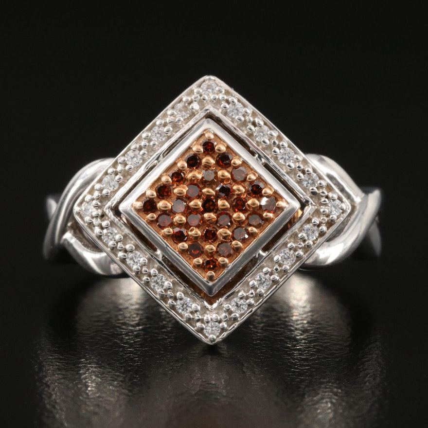 Sterling Silver Diamond and Cubic Zirconia Ring