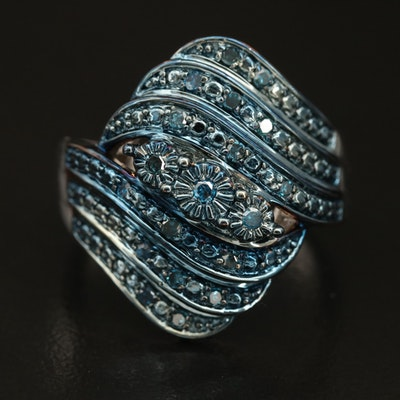 Sterling Diamond Floral Crossover Band