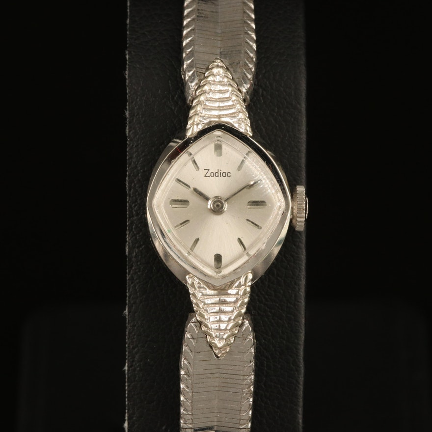 14K White Gold Zodiac Wristwatch