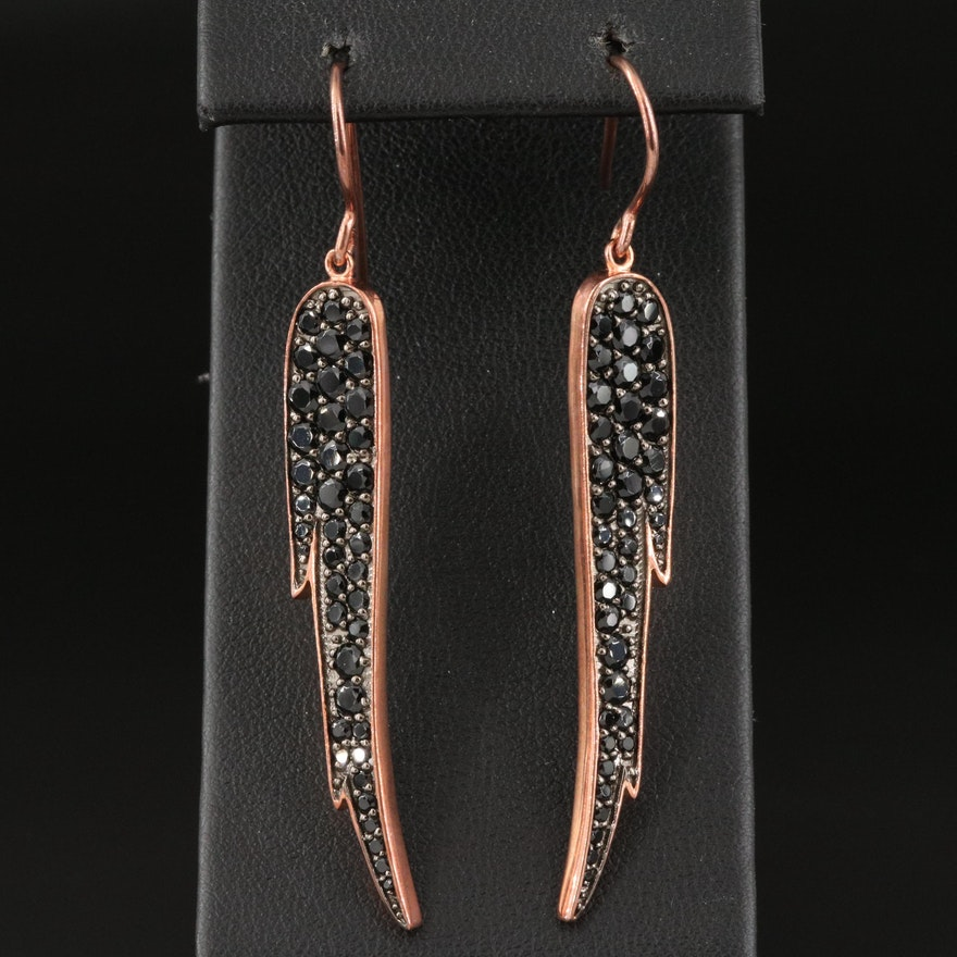 Sterling Silver and Spinel Tapered Wing Drop Earrings