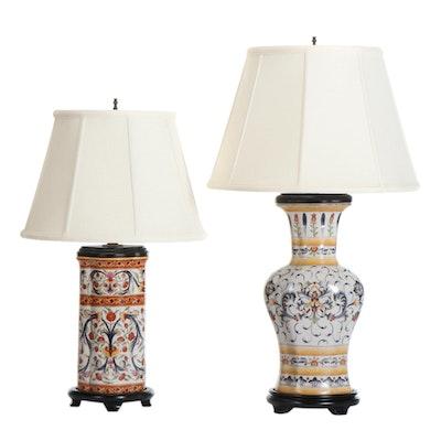 Floral and Foliate Motif Ceramic Table Lamps