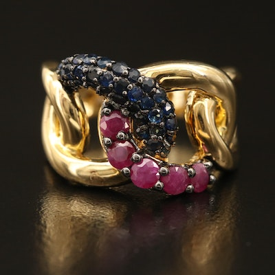 Sterling Ruby and Sapphire Curb Link Ring