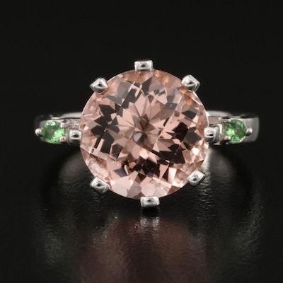 Sterling Silver Morganite and Tsavorite Ring