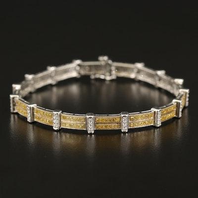 Sterling 1.90 CTW Fancy Yellow Diamond and Cubic Zirconia Bracelet