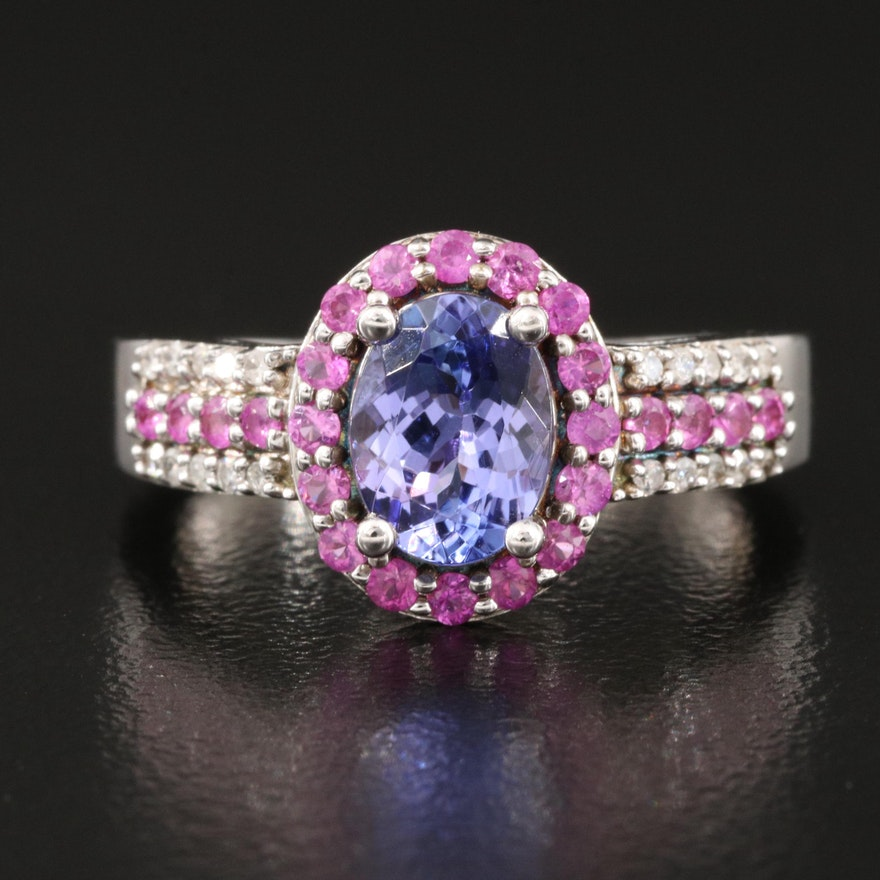 Sterling Silver Tanzanite, Diamond and Pink Sapphire Ring
