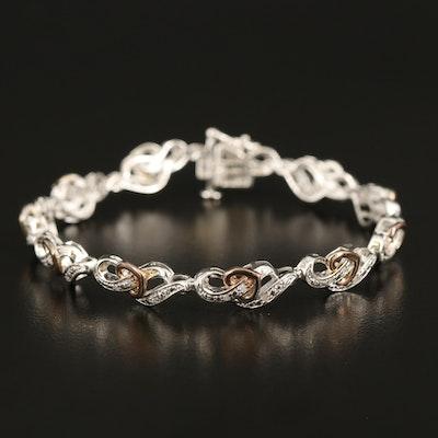 Sterling Diamond Heart Crossover Link Bracelet