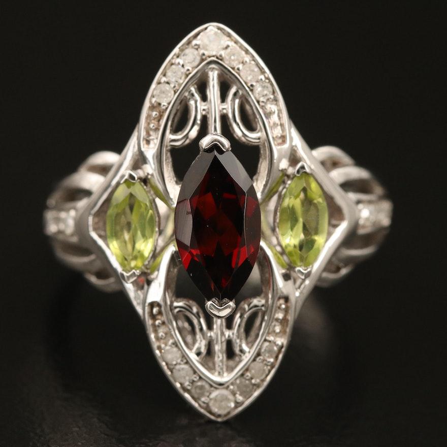 Sterling Garnet, Peridot and Diamond Openwork Navette Ring
