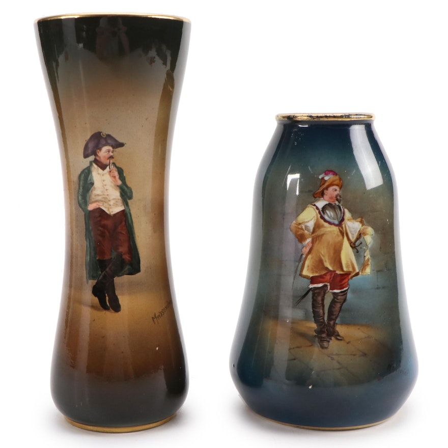 Royal Bonn Meissonier Hand-Painted Porcelain Vases, Late 19th/ Early 20th C.