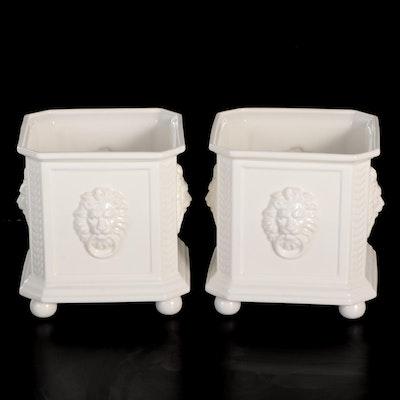 Hispania Neoclassical Style Lion Head Ceramic Planters