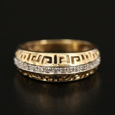 Sterling White Zircon Ring with Greek Key Motif