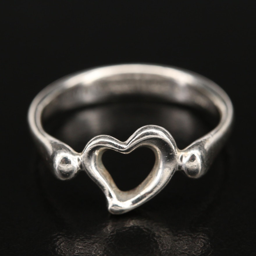 """Elsa Peretti for Tiffany & Co. """"Open Heart"""" Sterling Ring with Pouch and Bag"""