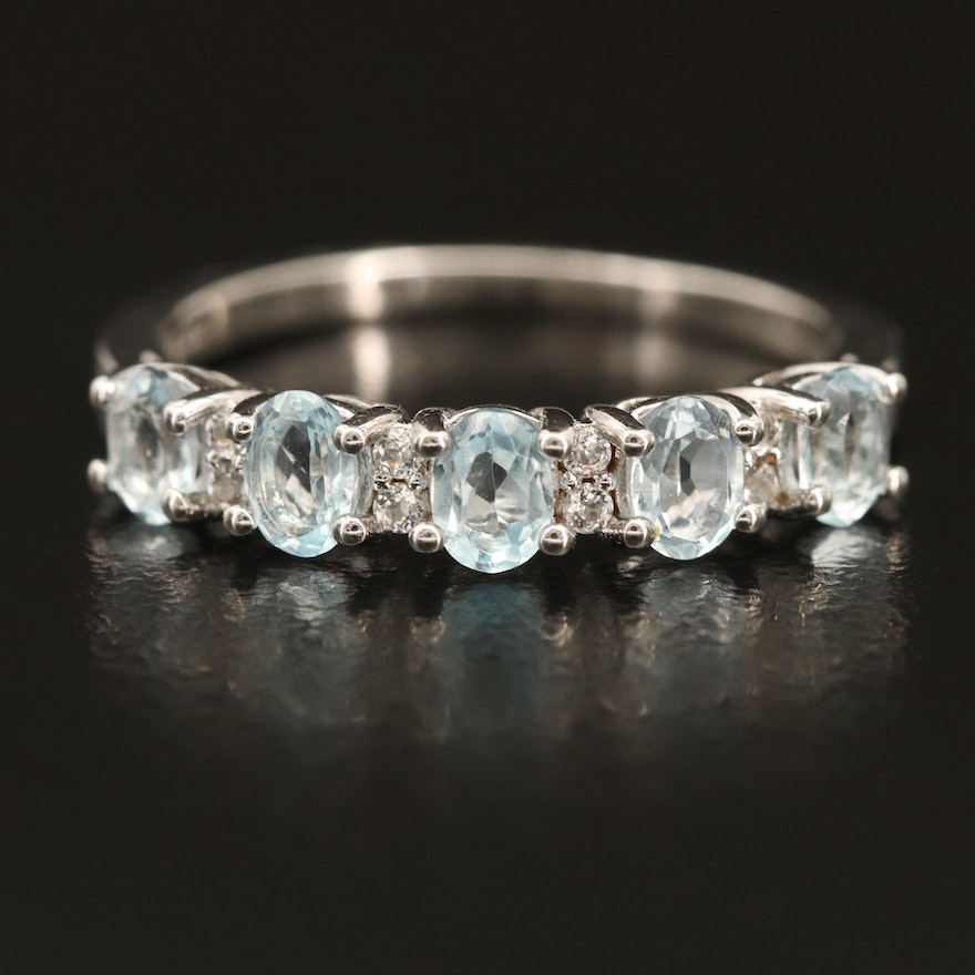 Sterling Sky Blue and White Topaz Ring