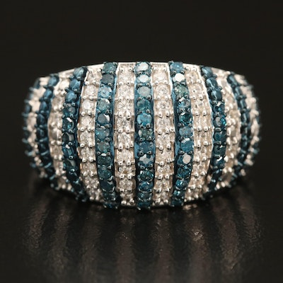 Sterling Striped Dome Ring with Fancy Blue Diamonds and Cubic Zirconia
