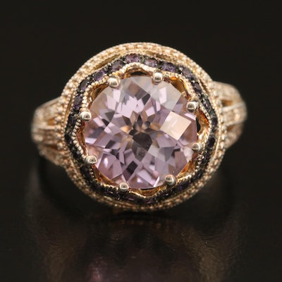 Sterling Amethyst and Diamond Openwork Ring