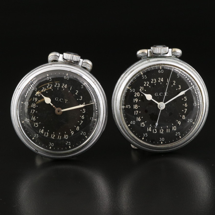 Pair of Hamilton AN-5740 WWII Navigation Pocket Watches
