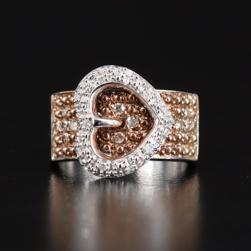 Sterling Diamond Heart Buckle Ring