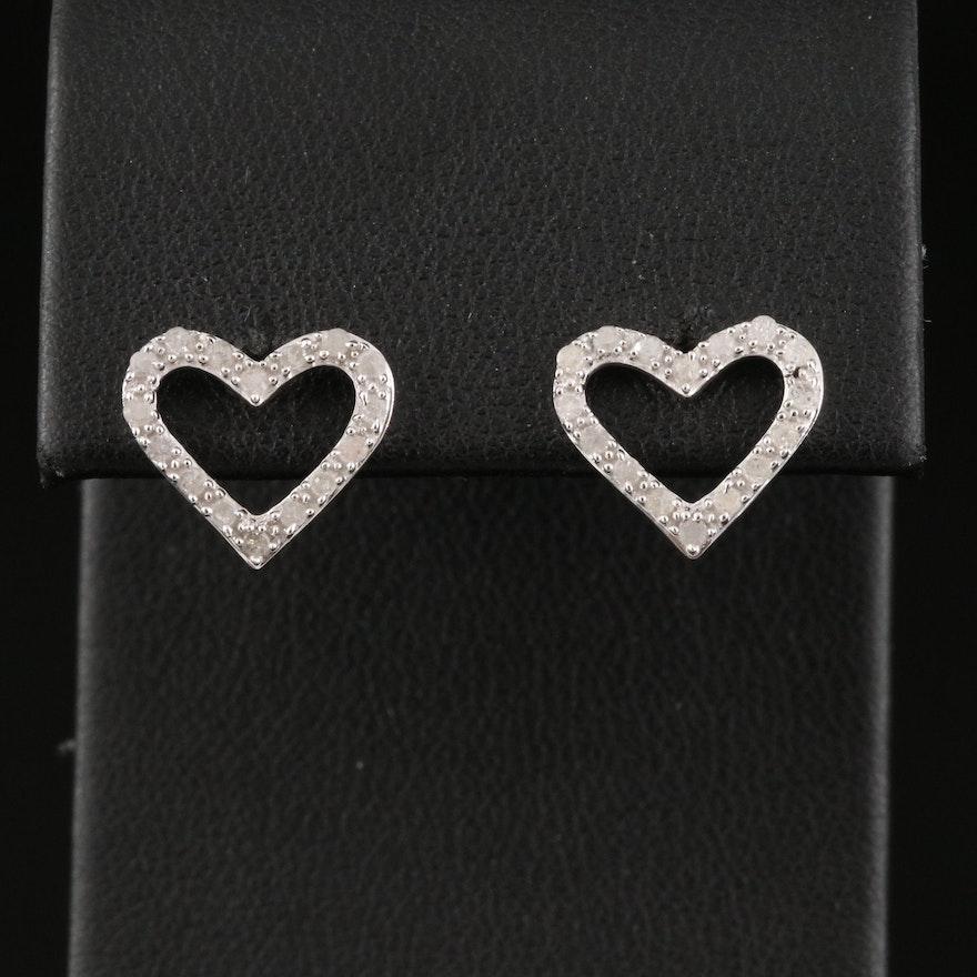 Sterling Silver Open Heart Diamond Stud Earrings