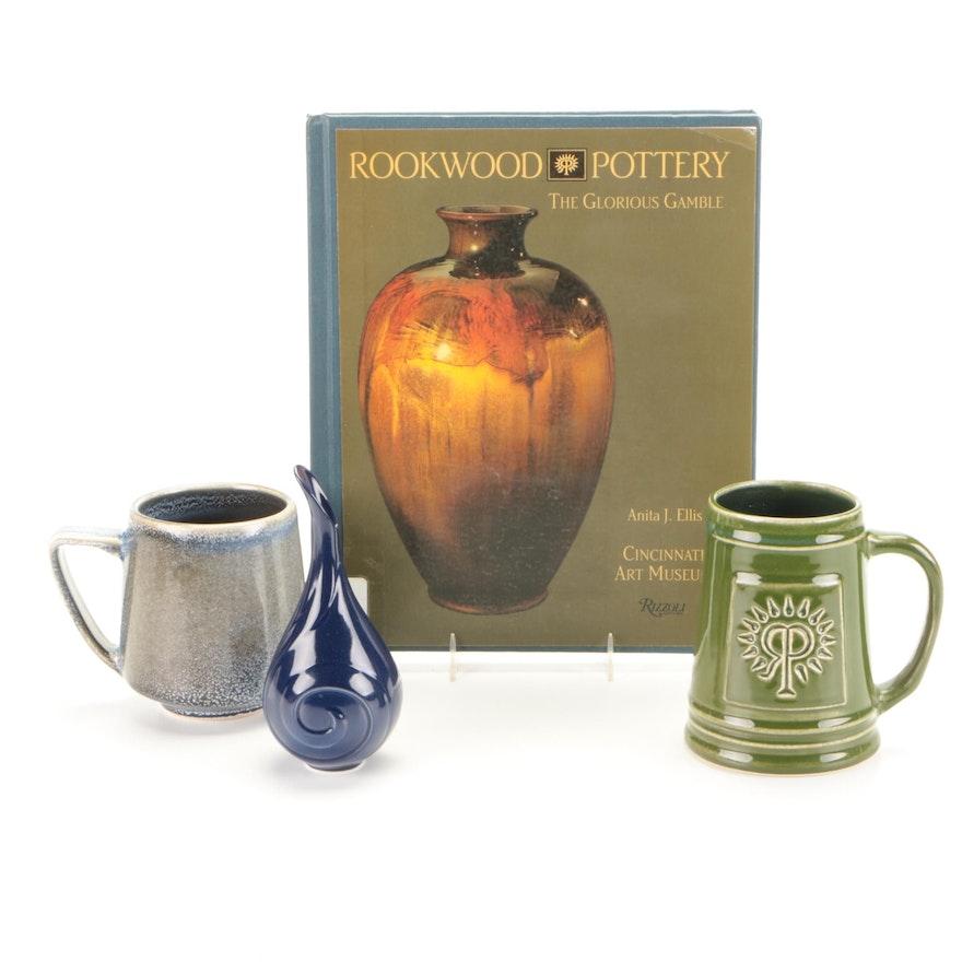 "Rookwood Pottery Mug , Bud Vase and ""The Glorious Gamble"" Book"