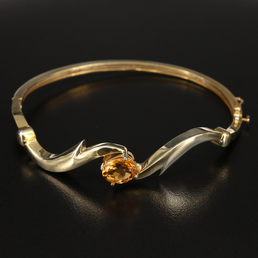Sterling Citrine Hinged Bypass Bangle