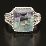 Sterling Fluorite and Zircon Ring