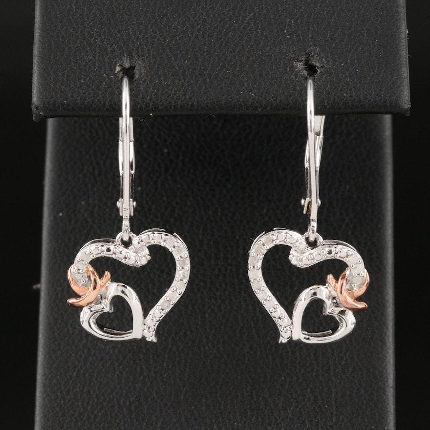 Sterling Silver Joined Heart Drop Earrings