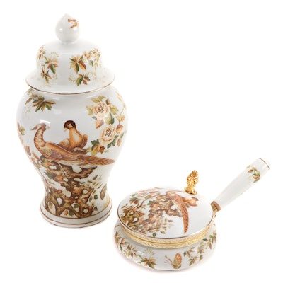 Porcelain Peacock and Floral Ginger Jar and Silent Butler Pot, Mid-Late 20th C.