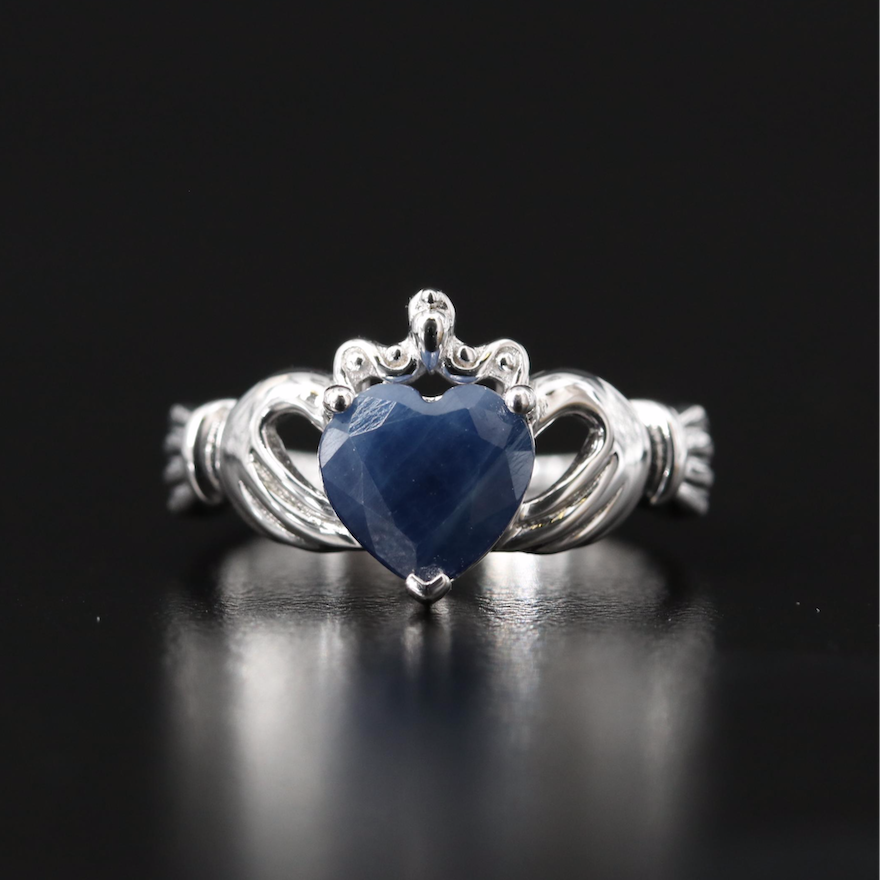 Sterling Sapphire Heart Claddagh Ring