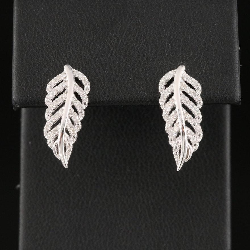 Sterling Silver Diamond Feather Earrings