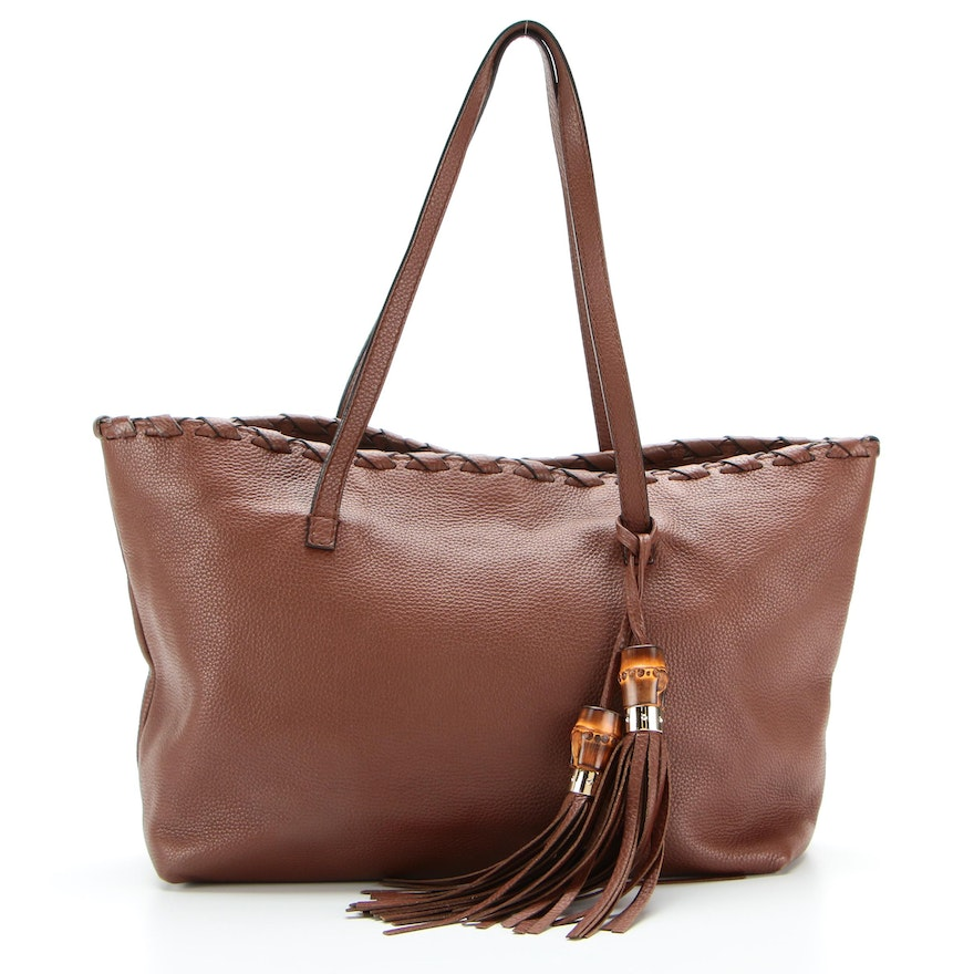 Gucci Tote Bag in Brown Pebbled Leather with Whipstitching and Bamboo Tassels