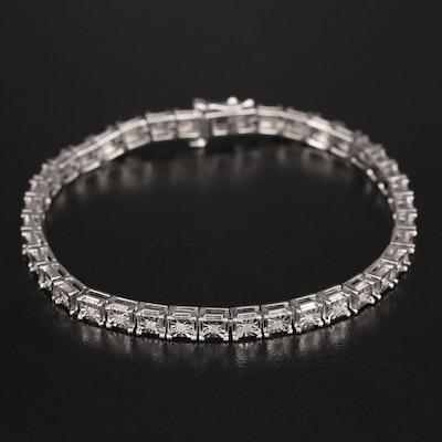 Sterling Diamond Illusion Set Line Bracelet