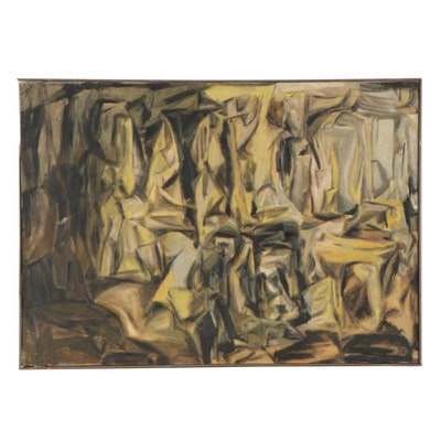"""Don Stacy Large-Scale Abstract Oil Painting """"Archaic Forms,"""" Late 20th Century"""