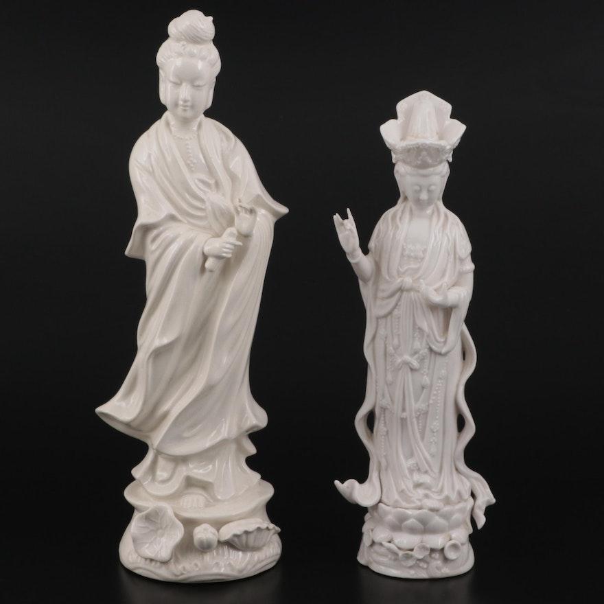 Chinese Blanc de Chine Porcelain Quan Yin Figures