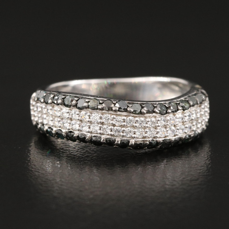 Sterling Silver Diamond and Cubic Zirconia Wave Band